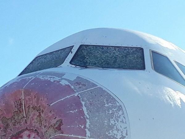 由於機首受損,這架班機被迫緊急降落在阿根廷首都的國際機場。(擷取自avherald)