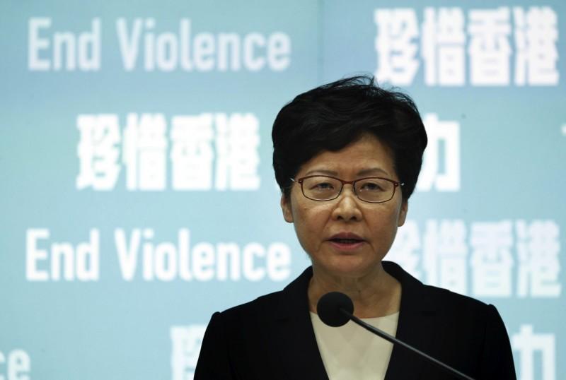 香港特首林鄭月娥今日宣布《禁蒙面法》將於明(5)日凌晨0時起生效。(美聯社)