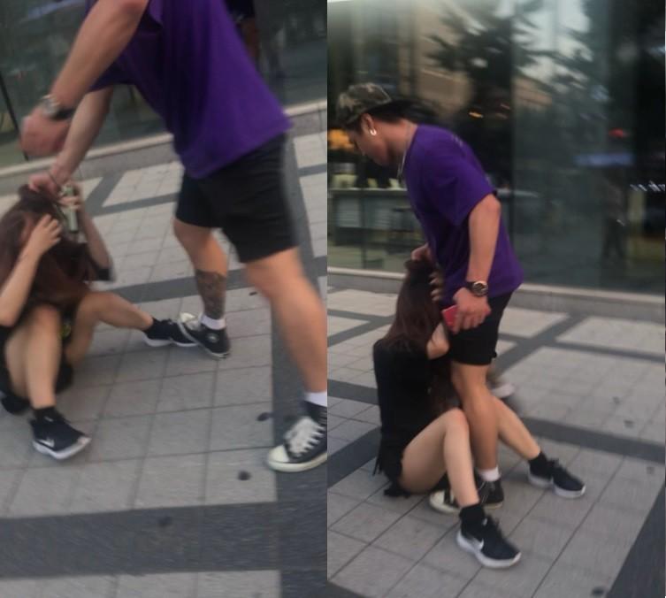 儘管MiyuRin已經被打倒在地,韓男還是不停狠抓她的頭髮痛毆,甚至出腳狠踹。(圖擷取自MiyuRin推特)