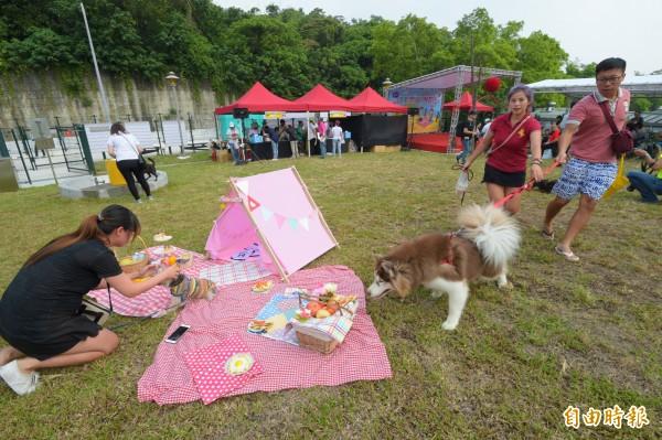 潭美毛寶貝快樂公園24日啟用並舉辦野餐日,許多民眾帶著家中愛犬共襄盛舉。(記者張嘉明攝)