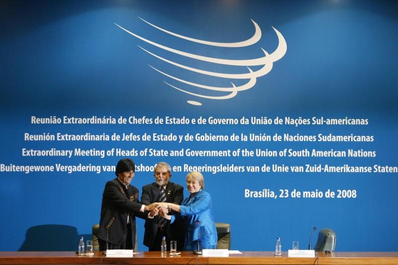 為了仿效歐盟建立起一個包括共同貨幣、議會和護照的新共同體,南美國家在2008年5月成立南美洲國家聯盟。(美聯社)