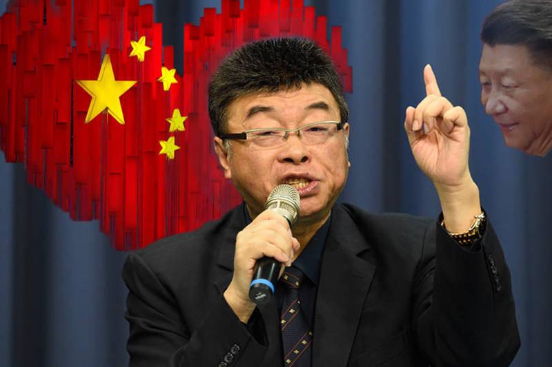 前國民黨立委邱毅(見圖)表示,「我就是在台灣的中國人」,嗆台獨人士有能耐的話就來抓他。(五星旗愛心裝置藝術示意圖與中國領導人習近平示意圖為路透資料照;邱毅為本報資料照;本報合成)