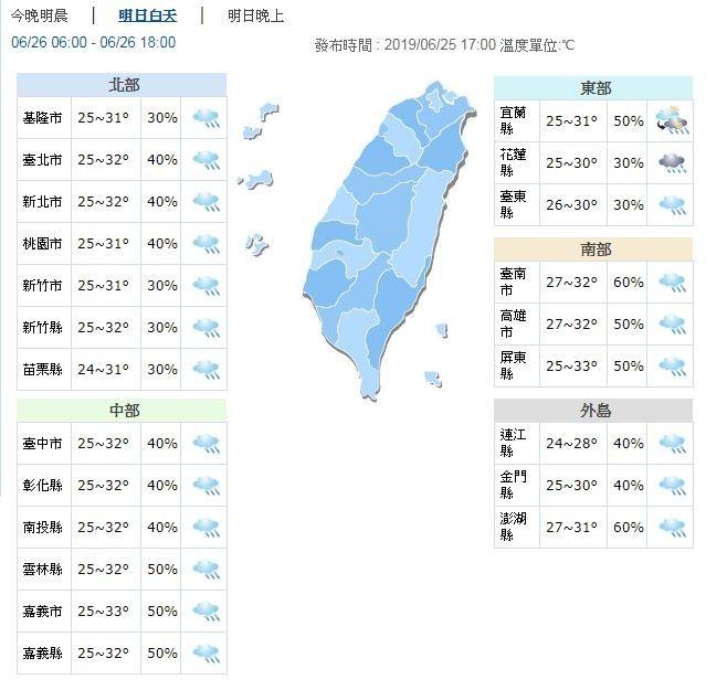 明天台灣各地天氣大致上以多雲為主,但要注意有局部短暫雷陣雨,尤其大台北地區及山區恐有局部大雨機率。(圖擷取自中央氣象局)