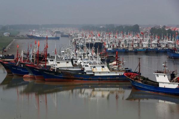 中國漁船經常擅闖他國海域濫捕海洋資源,不僅鄰近中國的南韓受害,隨著中國海鮮需求量連年增加,中國漁民也在阿根廷、南非等進行非法捕撈。圖為停泊在中國江蘇省港內的中國漁船。(美聯社)
