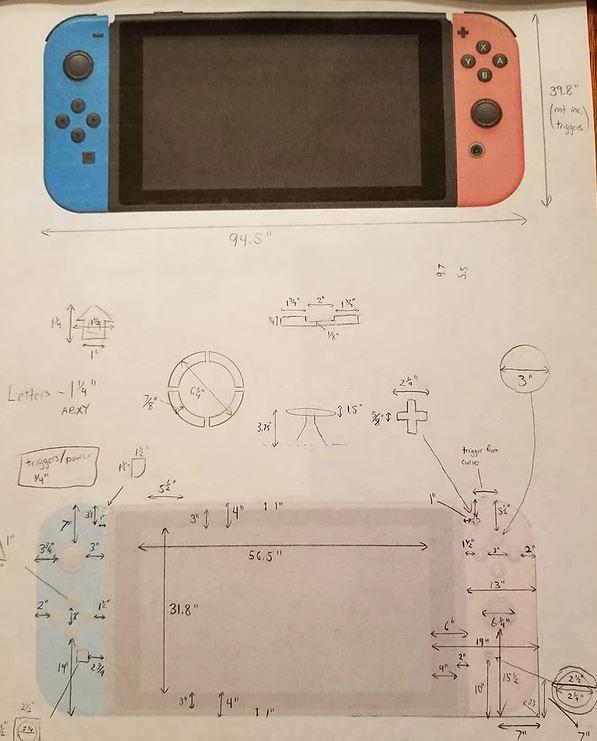 他先從牆上等比投影出Switch的圖片,在實際丈量投影出來的影像,製成了設計藍圖。(圖取自suprman9)