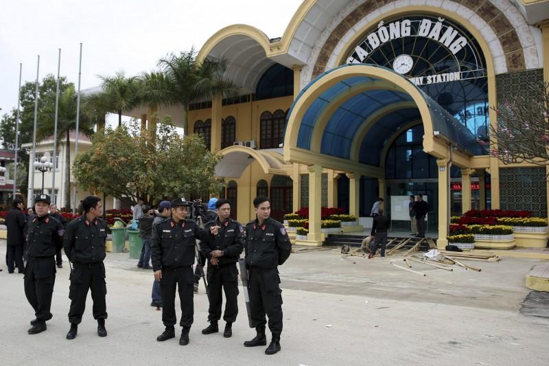 越南同登車站是北韓領導人金正恩列車的終點站,將在此轉搭汽車到河內,目前正在整修。(美聯)