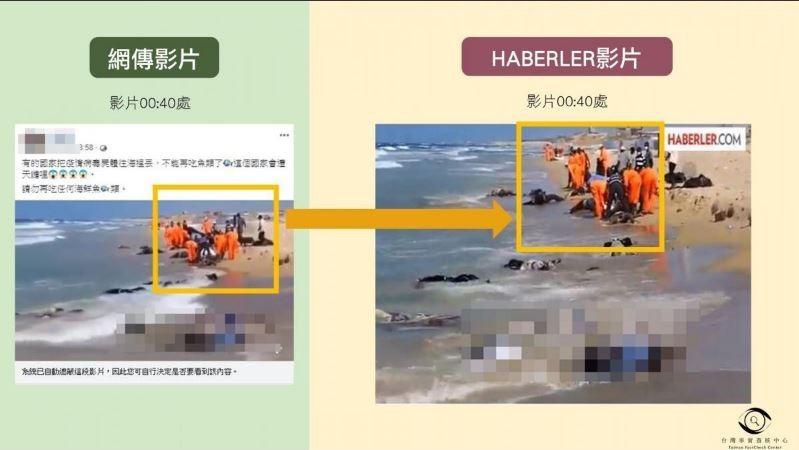 近日社群平台上盛傳一段影片,表示部分國家直接將因染武漢肺炎過世者的屍體丟入海中,呼籲民眾勿吃被汙染的海鮮。對此,台灣事實查核中心表示,該影片擷自2014年8月26日,在利比亞附近海域發生的船難舊聞,與這次疫情毫無關聯,而且此影片也被其他單位指稱,常被挪用來指涉不同事件,是「假訊息的常用素材」。(圖擷取自「台灣事實查核中心」網頁)