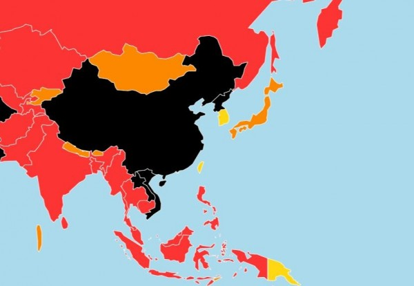 《2019全球新聞自由指數》報告中以「黑洞」形容中國的媒體環境,在180個國家中排名177位,下滑1名。(圖擷取自RSF)