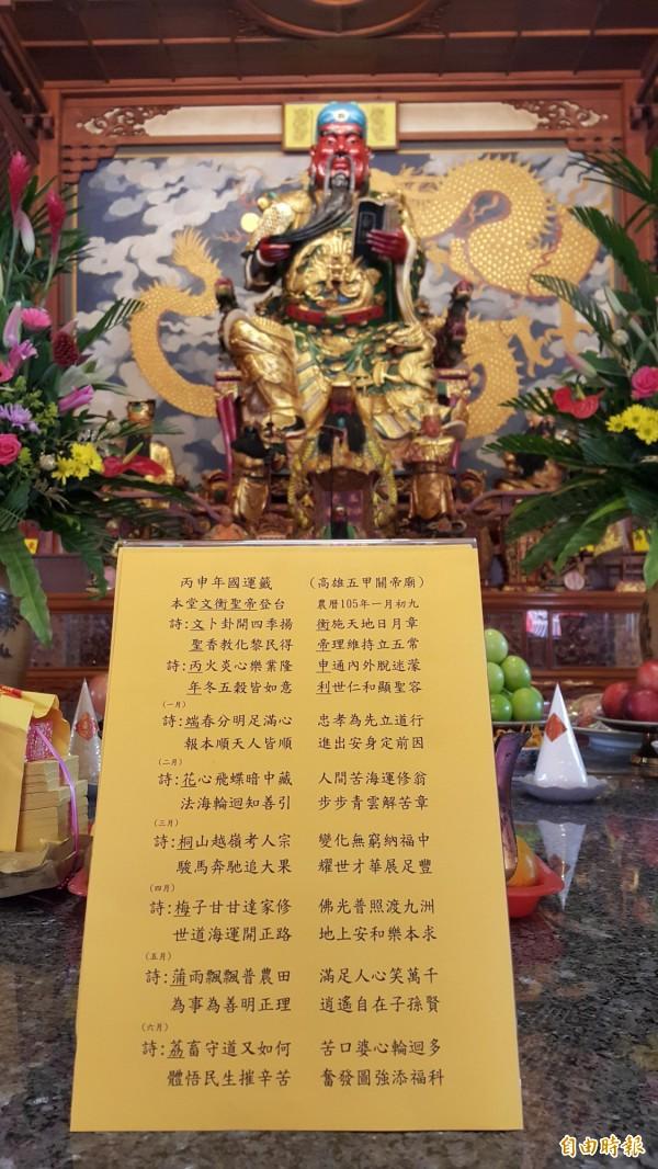 五甲關帝廟開出今年國運籤,新領導人利益國家帶來祥和。 (記者陳文嬋攝)