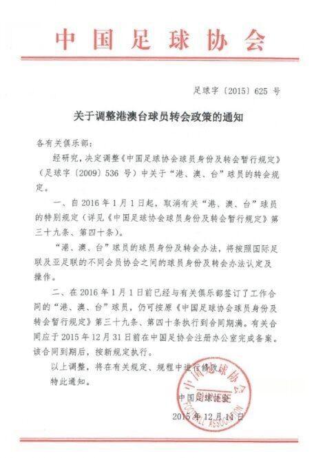 中國足協一紙公文,可能讓台灣足球員在中國發展陷入困境。(圖取自《搜狐體育》)