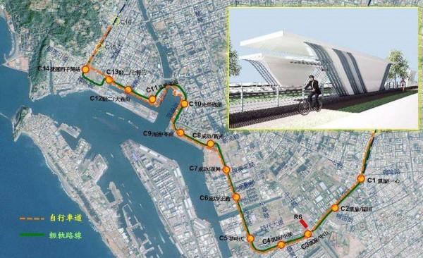 「高雄水岸環狀輕軌與自行車道的關係」示意圖。(圖擷取自JR Chen's Transportation World)