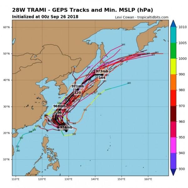 各國官方最新研判出的潭美颱風移動路徑,多數顯示它最後將一路朝向日本前進。(圖擷取自tropicaltidbits)