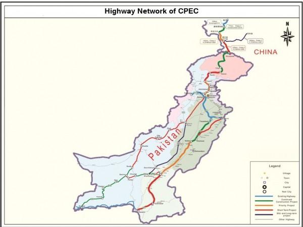 中巴經濟走廊(CPEC)道路網地圖。(圖擷取自維基百科)