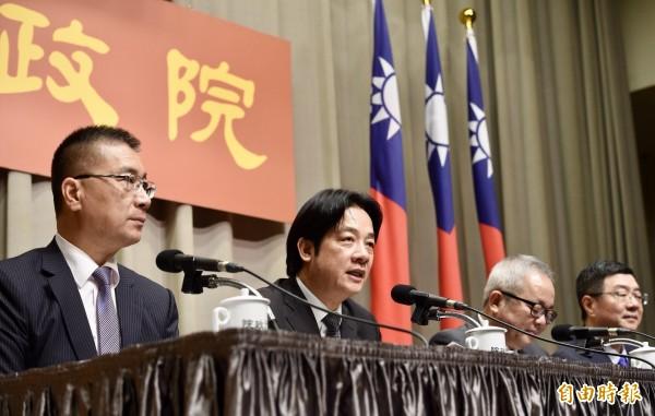 行政院長賴清德今天宣布內閣改組7個首長人事異動。(記者羅沛德攝)