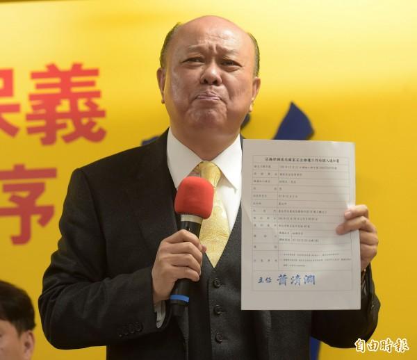 新黨副主席李勝峰(中)出席搜索票。。(記者黃耀徵攝)