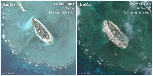 2011-2016敦謙沙洲(Sandy Cay)。(圖擷自商業內幕)