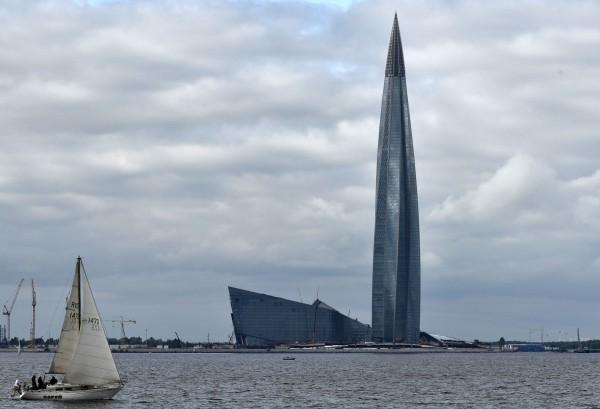 歐洲最高大樓、俄羅斯聖彼得堡的拉赫塔中心(Lakhta Center)即將完工。(美聯社)