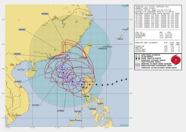 美軍預測路徑顯示,玉兔外圍環流將影響台灣至下個月4號。(圖擷取自JWTC)