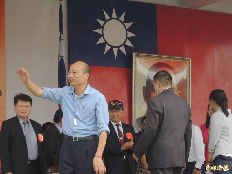 韓國瑜(見圖)今參加陸軍官校建校95年校慶,他曾是專科軍官班畢業生,今天出席也具校友身分。(記者蔡清華攝)