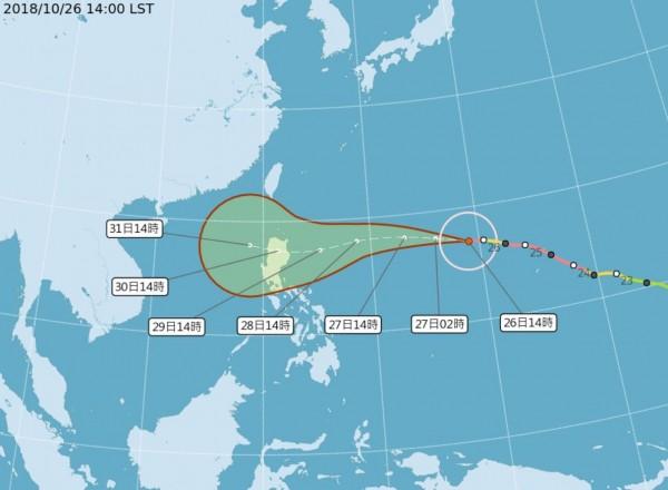 今(26)日下午2時,玉兔再度增強為強烈颱風,目前持續向西北西移動。(圖擷取自中央氣象局)