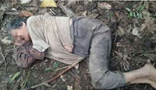 失蹤2天的老阿嬤被尋獲時,正躺在地上睡覺。(記者蘇福男翻攝)