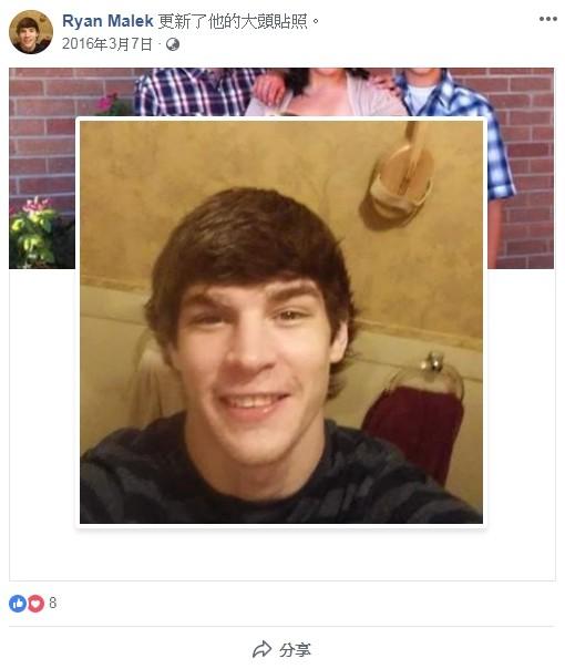 美國堪薩斯州牛頓市(Newton)有名24歲男子馬利克(Ryan Scott Malek),因企圖「與汽車排氣管發生性關係」,而被法院判處緩刑1年及200美元罰款。(翻攝自「Ryan Malek」臉書)