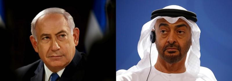 以色列與阿拉伯聯合大公國13日達成歷史性的和平協議,兩國同意建立全面外交關係。左為以色列總理納坦雅胡、右為阿布達比王儲Sheikh Mohammed Bin Zayed。(法新社)