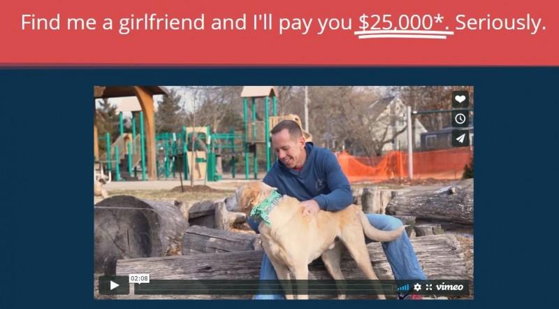 47歲的美國男子格布哈特(Jeff Gebhart)花了6個月時間自創個人交友網站,更提供成功介紹對象者2.5萬美金(約75萬新台幣)的推薦金。(圖片擷取自DateJeffG)