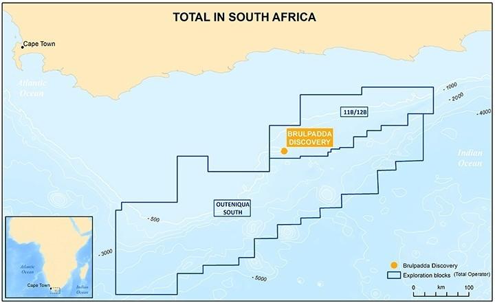 道達爾在南非南部距離海岸約175公里,約1萬8734平方公里海域、在水深200公尺至1800公尺深海的布魯帕達(Brulpadda)探勘區,在油井深度約3633公尺的海床處,發現57公尺厚的油層。(圖擷取自道達爾石油集團官網)