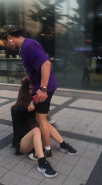 日本妹被韓國男子當街痛毆。(圖擷自みゆりん推特)