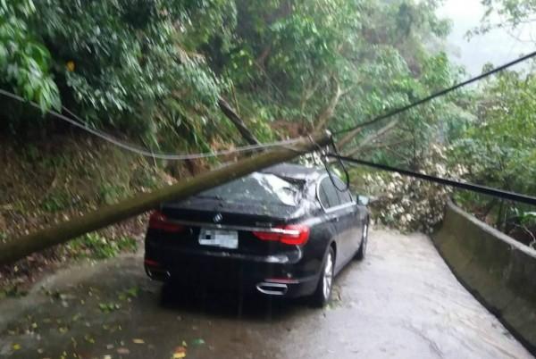 鄭姓車主的BMW大七在2年前行經新店區中生路時,遭倒下的電桿砸中,損失慘重。(車主提供)