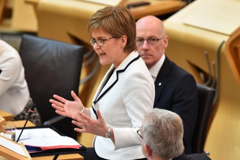 蘇格蘭首席大臣史特金宣布,若英國脫歐,將再度舉行蘇格蘭獨立公投。(法新社)