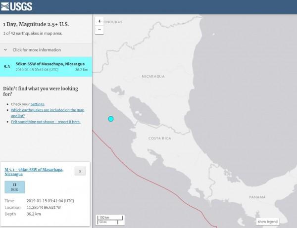 我國中美洲友邦尼加拉瓜近海剛剛發生芮氏規模5.3強震。(擷取自USGS)