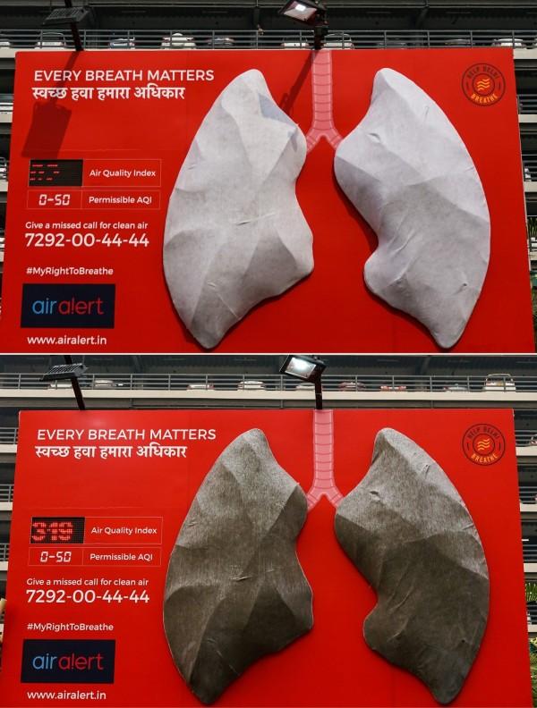 印度一間醫院做了一項霧霾實驗,將人工肺掛在戶外,觀察其前後變化。(法新社)