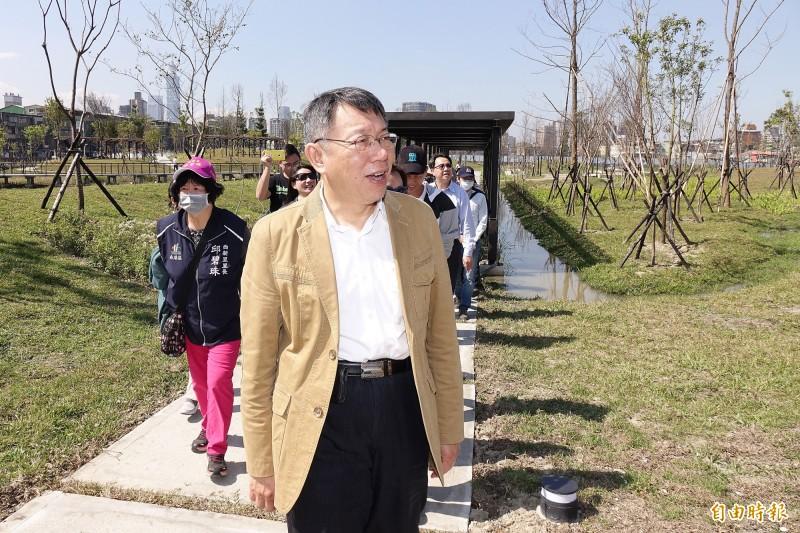 台北市長柯文哲(見圖)今天出席新新公園啟用典禮,致詞時爆料,蔡英文總統520就職典禮打算在南港的北部流行音樂中心舉辦。(記者陳志曲攝)