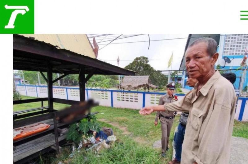 泰國羅勇府1名58歲的男子昨日買了濃度約30度的白酒,搭配1盒榴槤在涼亭享用,未料突然猝死。(圖擷自thai rath)