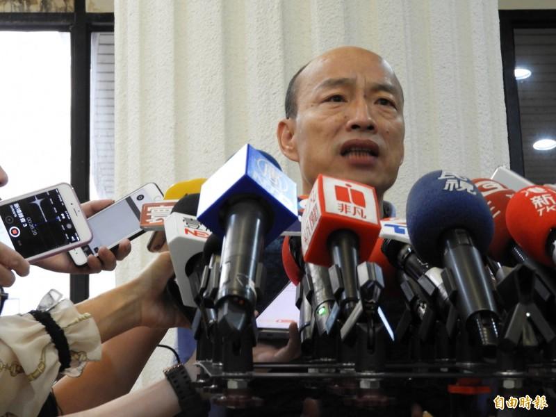 高雄市長韓國瑜因市政總質詢表現不佳,被外界質疑上任後究竟有什麼市政建設?(記者葛祐豪攝)