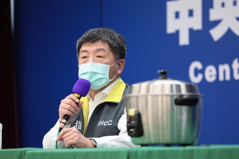 中央流行疫情指揮中心指揮官陳時中表示,口罩不是個人財產,而是保護自己與社會需要的物資,因此不能說捐就捐,仍要由政府分配。(指揮中心提供)