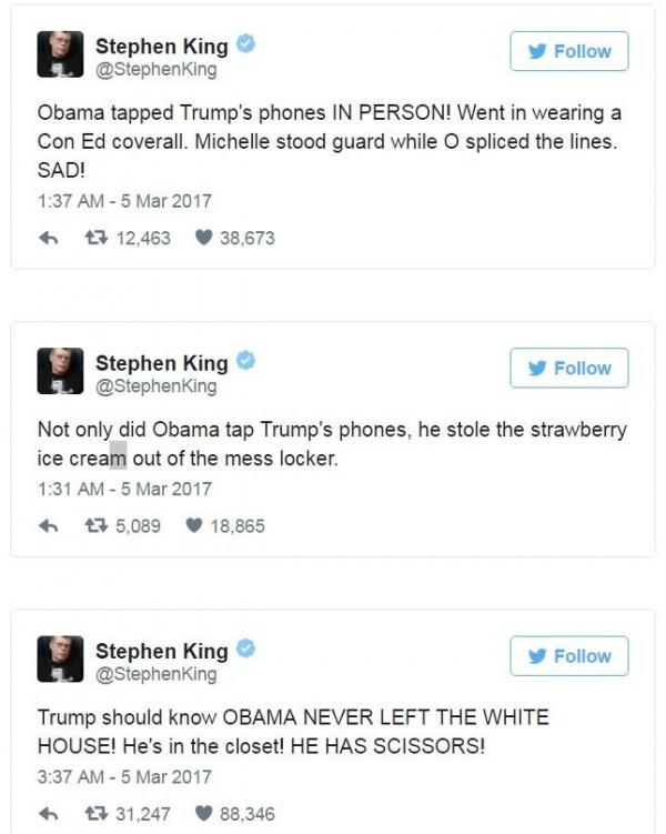 史蒂芬金在推特將川普對歐巴馬的竊聽指控,改寫成恐怖故事。(圖擷自推特)