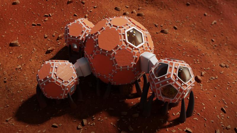 第三名建物的主體有著類似足球的外型。(擷取自NASA)