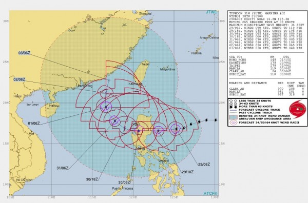 美軍聯合颱風警報中心預測玉兔颱風外圍環流從30日起將逐漸影響台灣。(圖擷取自JTWC)