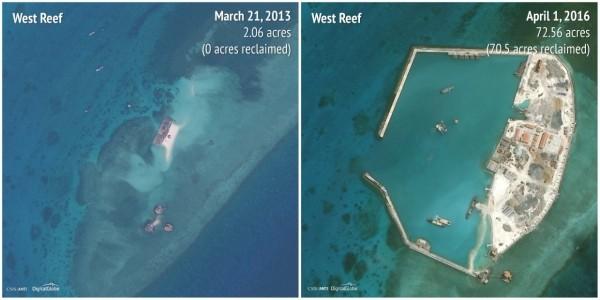 2013-2016西礁(West Reef)。(圖擷自商業內幕)