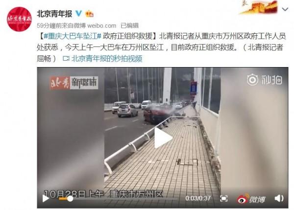 今日上午中國重慶萬州區長江二橋上發生一起交通事故,大巴士疑似為閃避逆向行駛的轎車,衝破護欄墜落長江,目前傷亡狀況不明。(翻攝自微博-北京青年報)