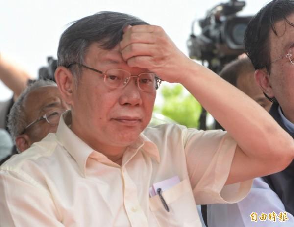 台北市長柯文哲今出席「台北能源之丘2.0—山水綠生態公園設置太陽光電系統」動工記者會。(記者張嘉明攝)