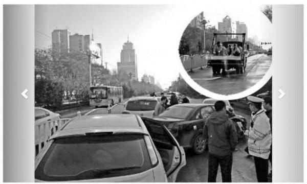 中國陝西則發生了灑水降塵後形成路面結冰,導致車輛打滑,3小時內造成38起車禍,所幸僅2人受傷。(圖擷取自星島日報)