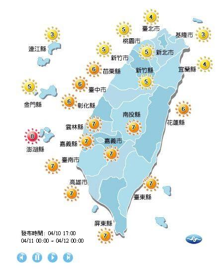 紫外線方面,澎湖為「過量級」;花東、苗栗以南為「高量級」;其餘地區為「中量級」。(圖擷取自中央氣象局)
