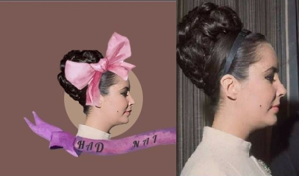 網友指控「哈打奶奶珍稀甜點」的商標,根本是直接用伊莉莎白泰勒的老照片合成,認為此舉觸犯「名人肖像權」。(圖擷取自哈打奶奶 嚴依柔 違反捷運法出來面對 反哈打奶奶專頁臉書)