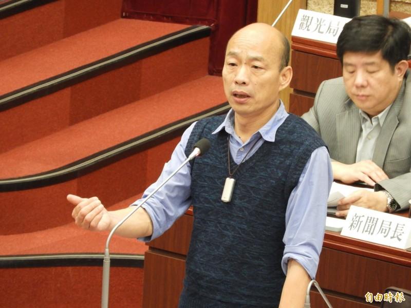 高雄市長韓國瑜答覆是否帶職參選時表示,這是之後會面臨到的問題,並且一定要克服。(記者葛祐豪攝)