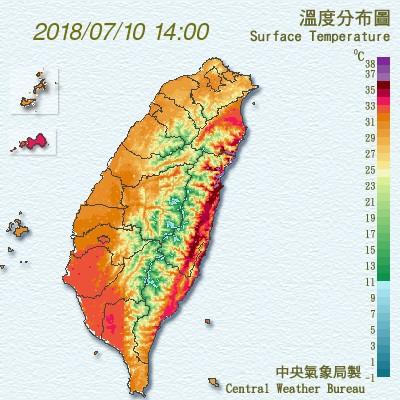 受到颱風外圍環流過山的沉降焚風影響,花蓮颳起焚風,溫度分布圖可以看出背風面出現明顯高溫。(中央氣象局)