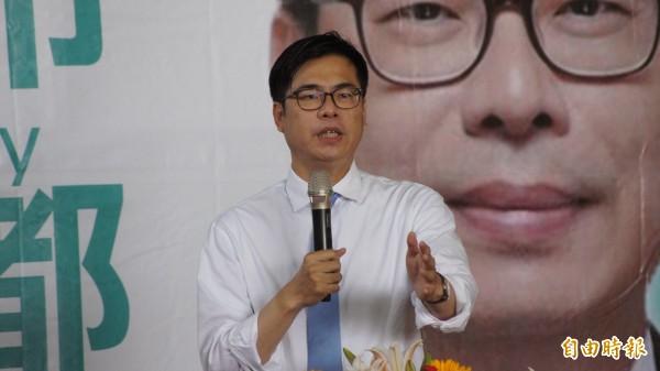 台灣競爭力論壇公布高雄市長選情民調,民進黨陳其邁以33.6%,較國民黨韓國瑜31%僅微幅領先2.6個百分點,陳其邁競辦發言人高偉勝質疑假民調,完全無參考價值。圖為陳其邁。(資料照)